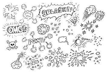 Hand drawn comic doodles
