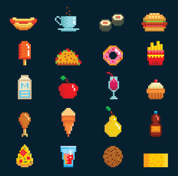 Vector pixelart fast food icons sign computer game design symbol web graphic fastfood cuisine symbols illustration fast restaurant pixelated elements burger, hot dog, pizza and drinks