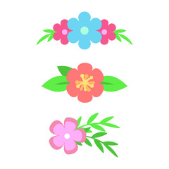 Vector set of floral text dividers. Flowers and leaves. Bouquet design for wedding invitations or greeting cards. Vector