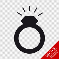 Wedding Ring With Glittering Diamont - Flat Vector Icon - Isolated On Transparent Background