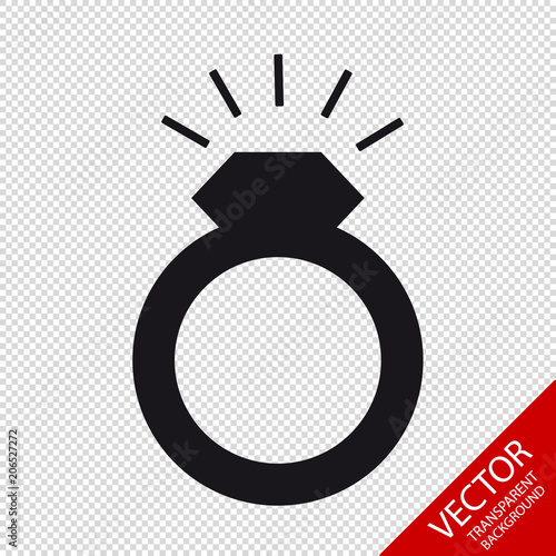 Wedding Ring With Glittering Diamont Flat Vector Icon Isolated