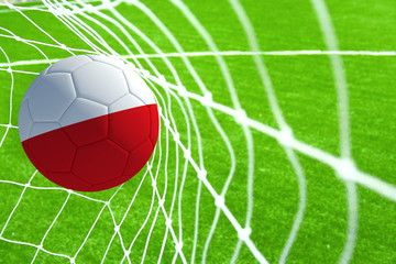 3d rendering of a soccer ball with the flag of Poland in the net.