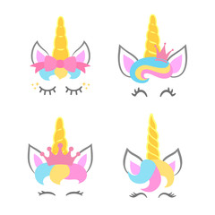 Cute unicorn faces. Unicorn heads. Unicorn constructor. Vector
