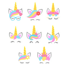 Collection of cute unicorn faces. Unicorn heads. Vector