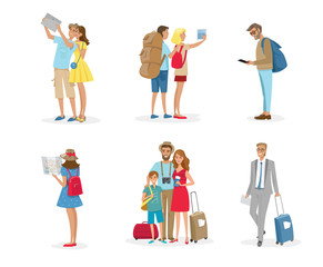 People and family travelling on vacation. Vector colourful illustration isolated on white