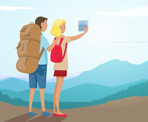 Couple of tourists hiking and discovering mountains. Colorful vector illustration.