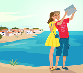 Couple of tourists making selfie near the sea. Colorful vector illustration.
