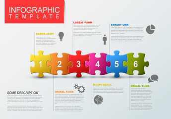 Six Step Puzzle Infographic Layout