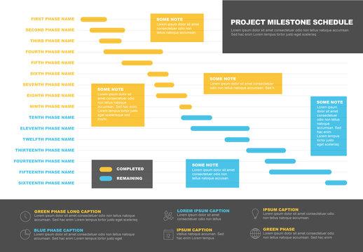 Blue and Yellow Gantt Chart Layout