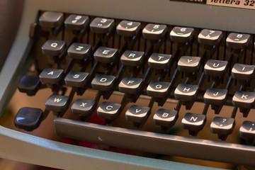 vintage keyboards in a flea market