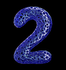 Number 2 two made of blue plastic with abstract holes isolated on black background. 3d