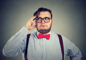 Mindful man solving a problem thinking of solution