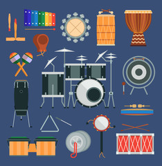 Vector drum percussion musical instruments flat style classical orchestral, rock-pop concert drums traditional national cartoon music instruments design elements