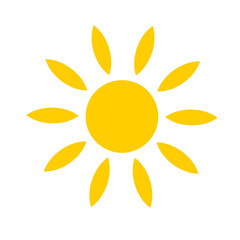 Yellow sun icon isolated on white background. Modern simple flat sunlight, sign. Trendy vector summer symbol for website design, mobile app.