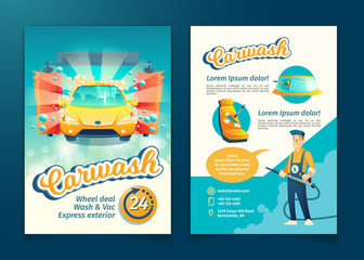 Vector automatic car washing flyer, ad banner of service with cartoon character. Promotion poster of cleaning transport by liquid detergent, brushes and working staff. Advertising of washing business