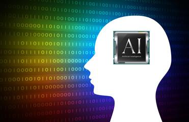 イラスト素材: シルエット人工知能CPUチップレインボー