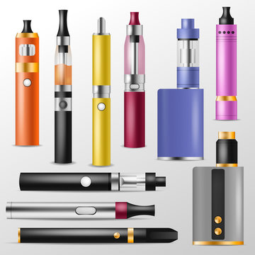 Vapor vector vaping device and modern vaporizer e-cig illustration set of vapes and cigarette isolated on white background