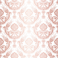 Luxury rose gold floral damask wallpaper isolated pattern