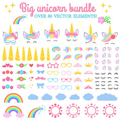Vector collection - Big unicorn bundle. Create your own unicorn. Unicorn constructor - horhs, eyelashes, ears, hairstyles, flowers, crowns, glasses, bows.