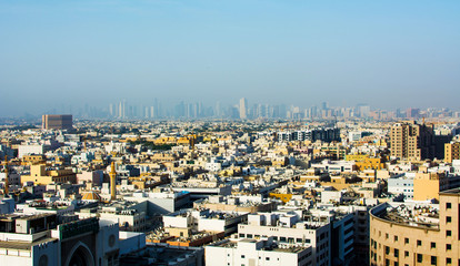 Panoramic view of Deira, the oldest part of Dubai at sunset