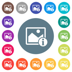 Image info flat white icons on round color backgrounds