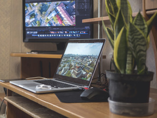video editing home studio with external monitor