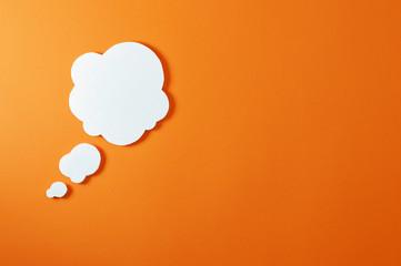 cloud text bubble on orange background