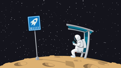 astronaut sitting on shuttle stop