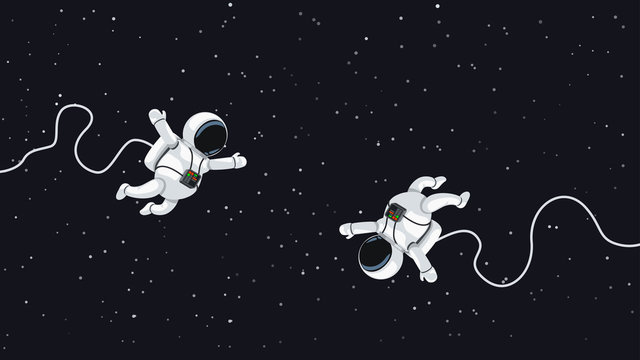 astronauts flying in space