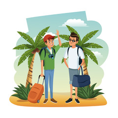 Male friends at beach with luggage and camera vector illustration graphic design