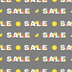 Seamless sale pattern with lemon slice and watermelon on a black background. Good for shops, posters and websites.