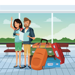 Young couple at airport with luggage and camera vector illustration graphic design