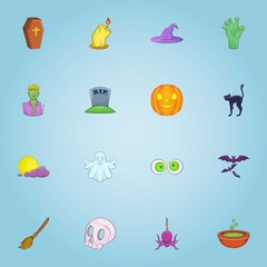 Halloween icons set. Cartoon illustration of 16 halloween vector icons for web