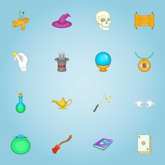 Magic icons set. Cartoon illustration of 16 magic vector icons for web