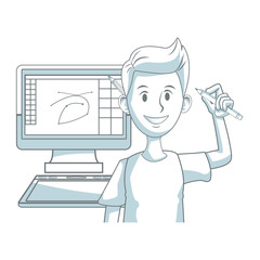Graphic designer working with computer vector illustration graphic design