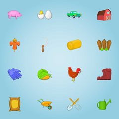 Farming icons set. Cartoon illustration of 16 farming vector icons for web