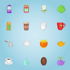 Drink icons set. Cartoon illustration of 16 drink vector icons for web