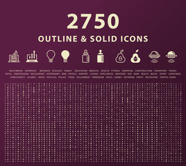 Set of 2750 Outline and Solid Icons . Vector Isolated Elements
