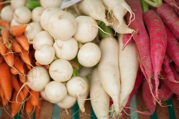 fresh root vegetables at the weekly market, can be used as background