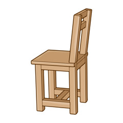wooden chair isolated illustration on white background