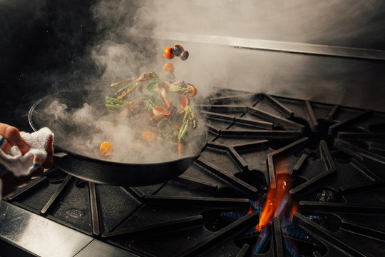 Cooking vegetables in a  fine dining restaurant.