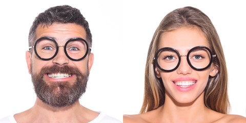 Collage of emotions. Different emotions. Emotion set of pretty girl and bearded man. Feeling and emotions. Emoji set. Girl in glasses. Bearded man in glasses. Face expression.