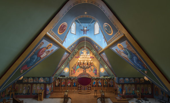 Interior of Saints Peter and Paul Antiochian Orthodox Church. Parish of the Antiochian Orthodox Christian Archdiocese of North America in Ben Lomond, California.
