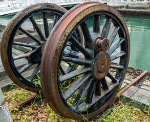 Rusty antique wheel.