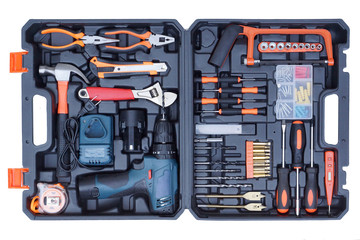 Tool box set for mechanic isolated on white