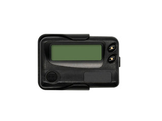 Black pager isolated on the white background.