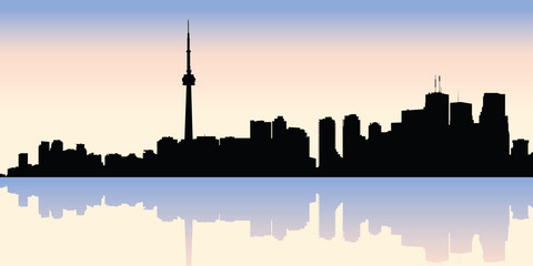 Skyline silhouette of the downtown waterfront of the city of Toronto, Ontario, Canada.