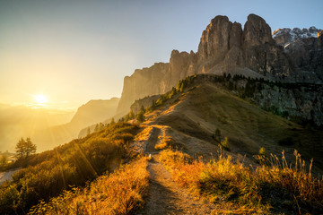 Fototapeta Dolomites, Italy Landscape at Passo Gardena. obraz
