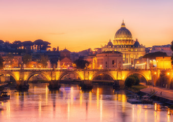 Aluminium Prints Rome, Italy with St Peter Basilica of the Vatican