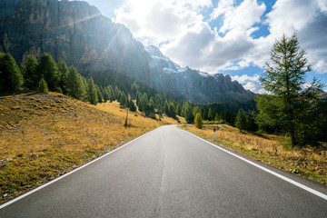 Mountain Road Highway of Dolomite Mountain - Italy Wall mural